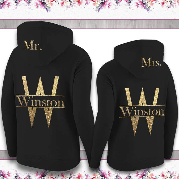 Etsy CUSTOMIZED UNISEX Couple Matching Hoodies Mrs.. & Mr. Full-Zip Hoodie Bridesmaid Hoodie Jackets. B