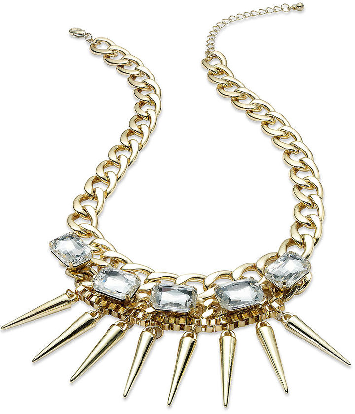 Bar III Necklace, Gold-Tone Clear Crystal Spike Statement Necklace