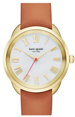 Women's Kate Spade New York 'Crosstown' Leather Strap Watch, 34Mm $195 thestylecure.com