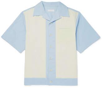 Prada Camp-Collar Two-Tone Cotton-Poplin Shirt