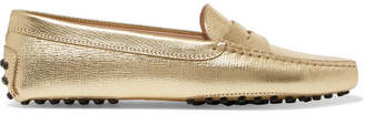 Tod's Gommino Metallic Textured-leather Loafers - Gold