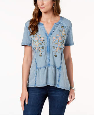 Style&Co. Style & Co Embroidered Cotton Split-Neck Top