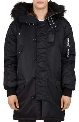 The Kooples Oversized Contrast-Fabric Parka Jacket