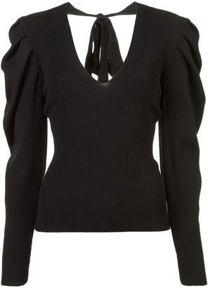 Carolina Herrera v-neck puff-sleeve knit pullover