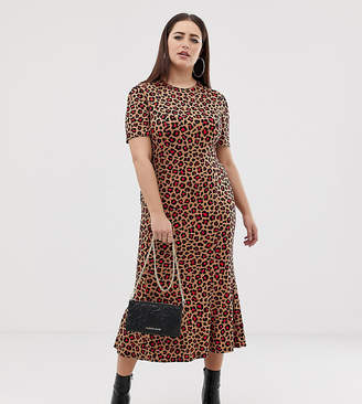 0e6600f45f9 Asos DESIGN Curve city maxi tea dress in animal print