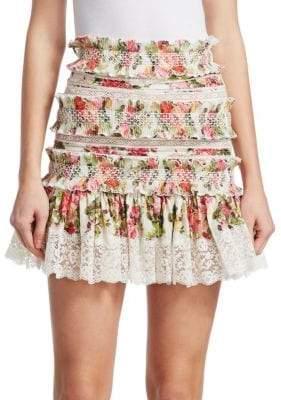 Zimmermann Radiate Floral Smocked Skirt