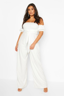 boohoo Plus Off Shoulder Tie Front Wide Leg Jumpsuit