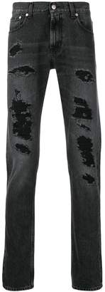 Alexander McQueen distressed straight cut jeans