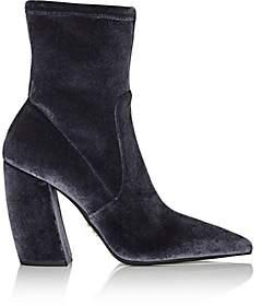 Prada Women's Velvet Ankle Boots-Grigio