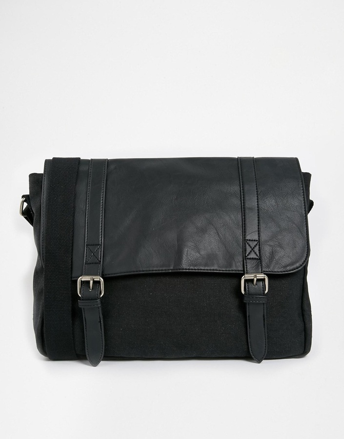ASOS Canvas And Faux Leather Satchel In Black - Black