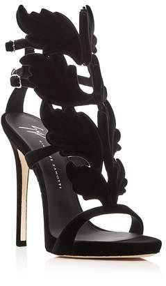 Giuseppe Zanotti Women's Winged Flocked Velvet High-Heel Sandals