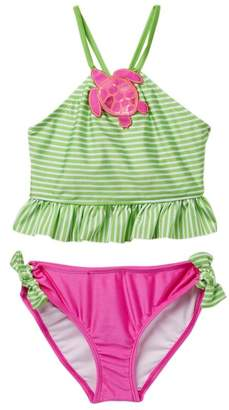 Love U Lots Turtle Ruffle Bikini Set (Toddler, Little Girls, & Big Girls)