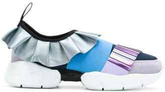 Emilio Pucci metallic ruffle sneakers