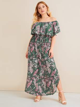 Shein Plus Paisley Print Curved Hem Bardot Dress