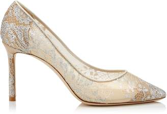 Jimmy Choo ROMY 85 White Lace Pointy Toe Pumps