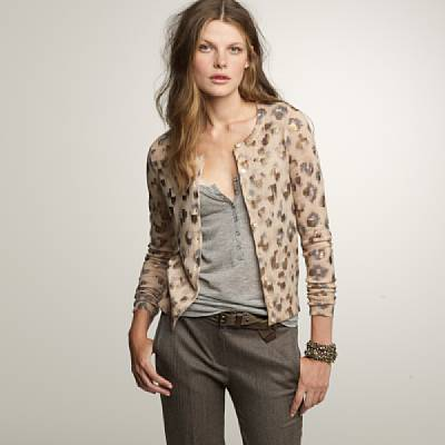 J.Crew Bronzed leopard cardigan