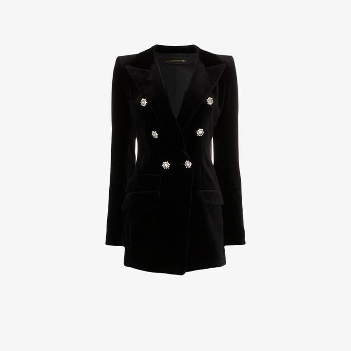 crystal button double breasted cotton jacket