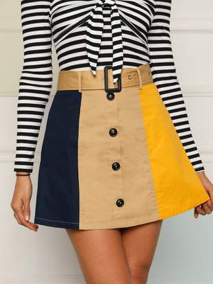 3e2fcb57fb Shein Cut-and-sew Button Front Buckle Belted Skirt