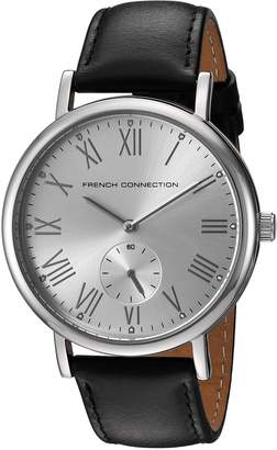 French Connection Men's 'Harley Classic' Quartz Metal and Leather Automatic Watch, Color:Black (Model: FC1259B)