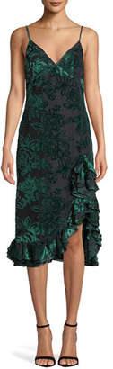 Caroline Constas Elvira Velvet Burnout Ruffle Slip Dress