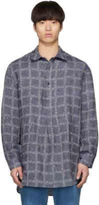 J.W.Anderson Navy Linen Grid Tunic Shirt