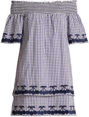 BLISS AND MISCHIEF Off-the-shoulder gingham cotton dress