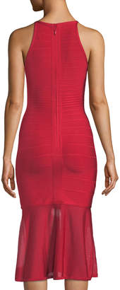 Herve Leger Sleeveless Illusion Bandage Knit Flounce Dress