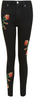 Topshop Moto embroidered jamie jeans $110 thestylecure.com