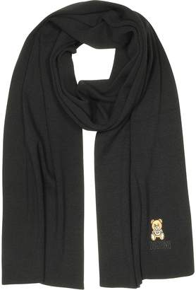Moschino Teddy Bear Knitted Wool Long Scarf
