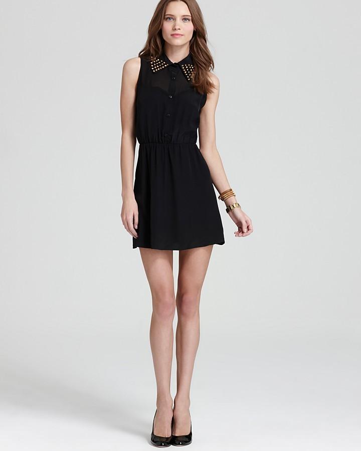 Aqua Illusion Dress - Stud Collar Sleeveless