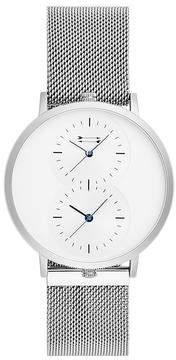 Uri Minkoff Griffith Silver Tone Mesh Bracelet Watch, 43MM