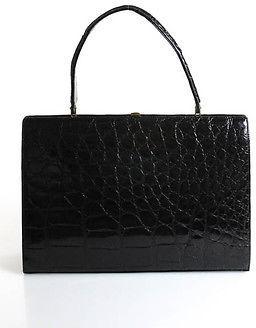 Vintage Designer Black Alligator Skin Single Handle Shoulder Handbag