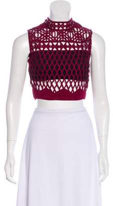 Self-Portrait Cutout Lace Crop Top