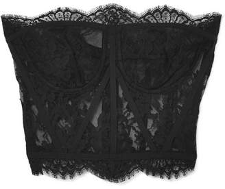 Dolce & Gabbana Scalloped Chantilly Lace Bustier - Black