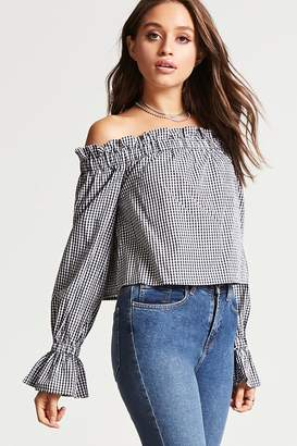 Forever 21 Gingham Off-the-Shoulder Top