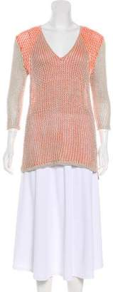 Helmut Lang High-Low Open Knit Sweater
