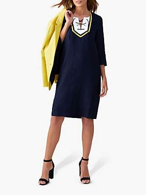 Pure Collection Linen Tie Neck Dress, Navy/Yellow