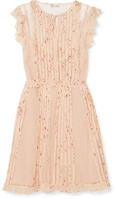 RED Valentino Ruffled Printed Silk-georgette And Point D'esprit Mini Dress - Cream