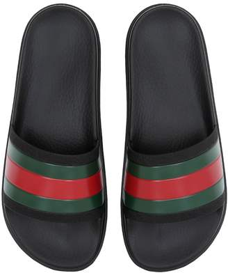 Gucci Striped Web Rubber Slide Sandals
