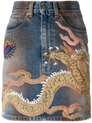 Gucci dragon motif denim skirt