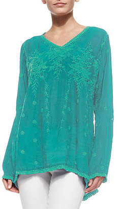 Johnny Was Vine Embroidered Georgette Tunic $215 thestylecure.com