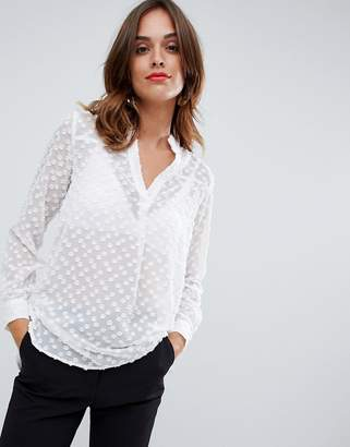 French Connection Lucy sheer spotted blouse