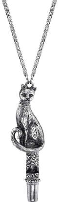 """2028 Antiqued Pewter Cat Whistle Pendant Necklace 30"""""""