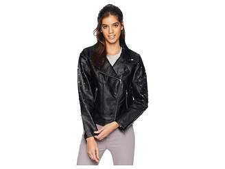 Members Only PU Biker w/ Multi Studs Women's Coat