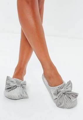 Missguided Grey Velvet Ribbed Bow Slippers