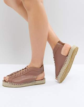Pieces Lace Up Leather Look Espadrille