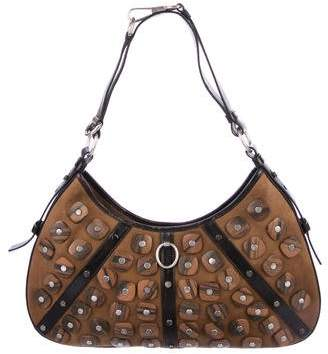Saint Laurent Embellished Leather-Trimmed Hobo