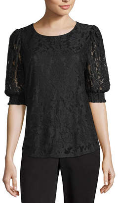 WORTHINGTON Worthington Short Sleeve Crew Neck Lace Lined Blouse