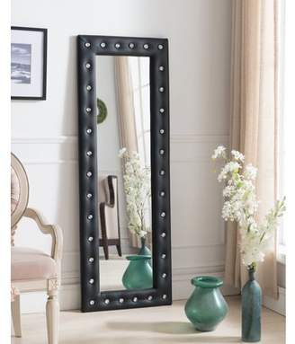 "Pilaster Designs Jane Black Upholstered Tufted Faux Leather Transitional Floor Standing Mirror (Crystal Buttons) (63""H x 22""W)"