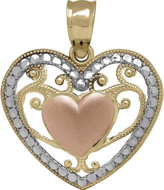 FINE JEWELRY Tesoro 14K Tri-Color Puff Filigree Heart Pendant